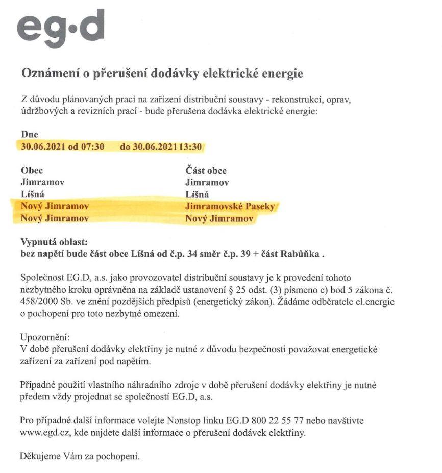 E-ON přerušení dodávky elektrické energie
