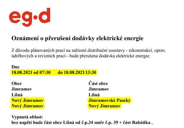 EG-D přerušení dodávky elektrické energie